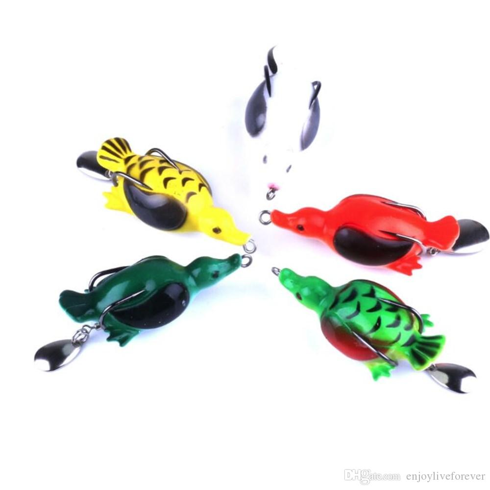 Box Packed Frog Fishing Lure Combo 6.5cm 12.6g Platypus Design Soft Bait Artificial Simulation Plastic Lure Fishing Tackle Set
