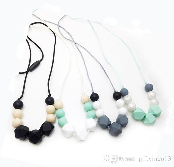 Silicone Teething Necklace Hexagon Beads Chew Necklace for Mom Baby Biting BPA Free Safe Silicone Beaded Pendant Necklace Nursing Jewelry