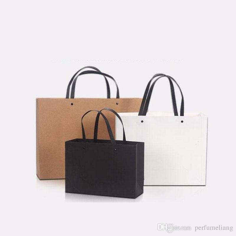 17 * 25 * 9 سم حقيبة هدية الأعمال أسود أبيض كرافت ورقة حقيبة مع مقبض للملابس أحذية تسوق ZA6572