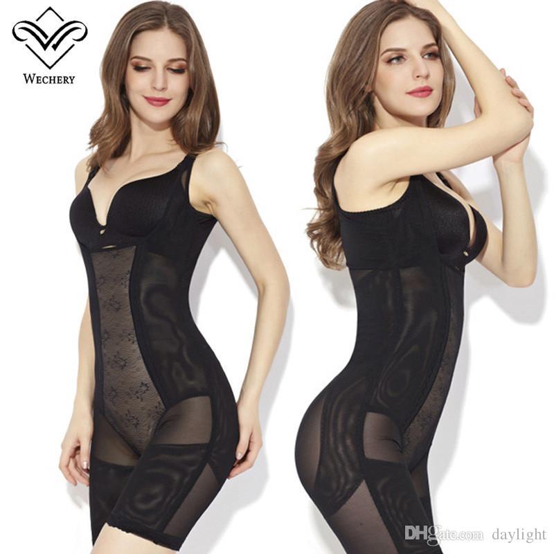 3ebd84e59 Wechery Sexy Body Shaper Stretchy Mesh Plunge U Bodysuit Waist ...
