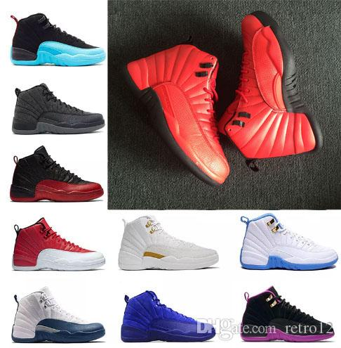 58f9257ded2182 2019 Wholesale Mens 12 12s Gym Red Dark Grey Basketball Shoes Taxi Blue  Suede Flu Game CNY Sneakers Size 41 47 From Retro12