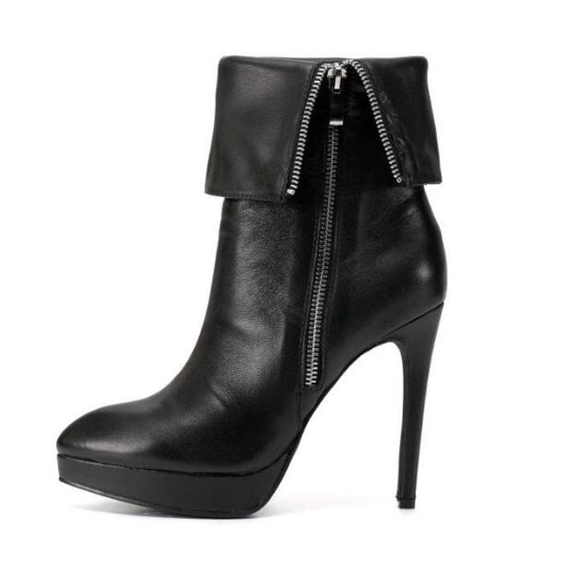 1cc85b108b6f98 Acheter 2018 Nouvelles Chaussures Femme Talons Plateforme Bottes Noires  Pour L'automne Et L'hiver Fermeture À Glissière Latérale Stiletto Thin High  Heels ...