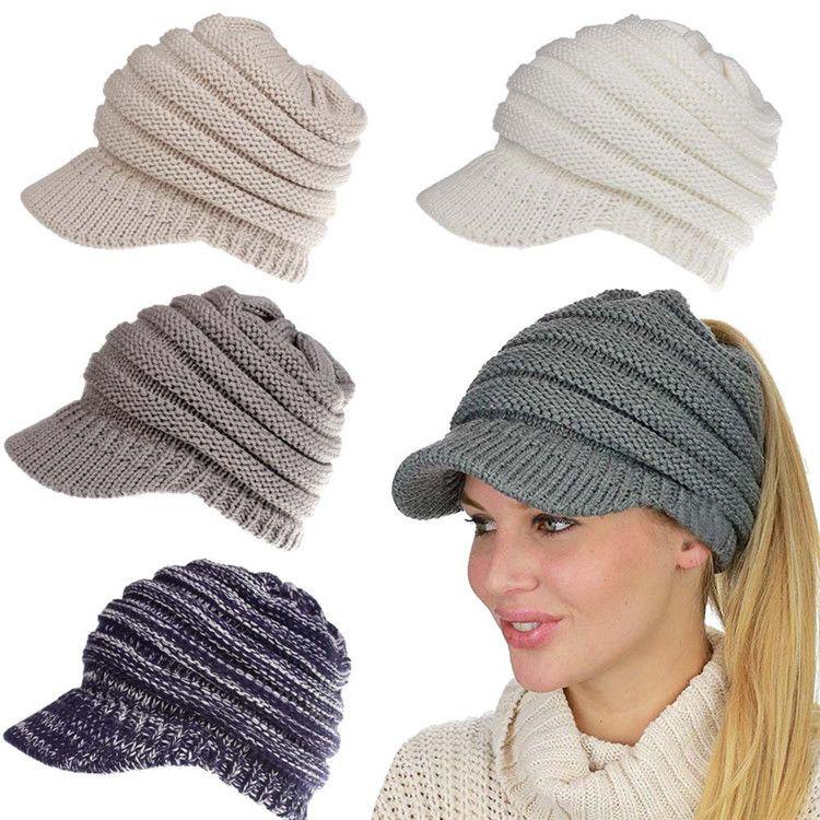 Großhandel Winter Pferdeschwanz Hüte 12 Farben Strickte Hüte ...