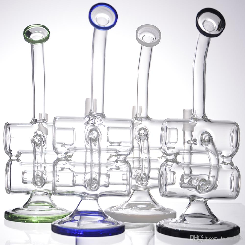 Baby Double Barrel Recycler Vapor Rig 2 bongs water pipes bong glass dab oil rigs percolator bubbler pipe