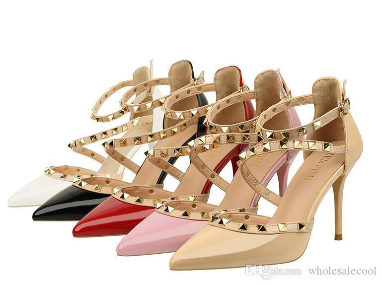8feafaa667f9 2018 New Fashion High Heels Women Pumps Thin Heel Classic White Red ...