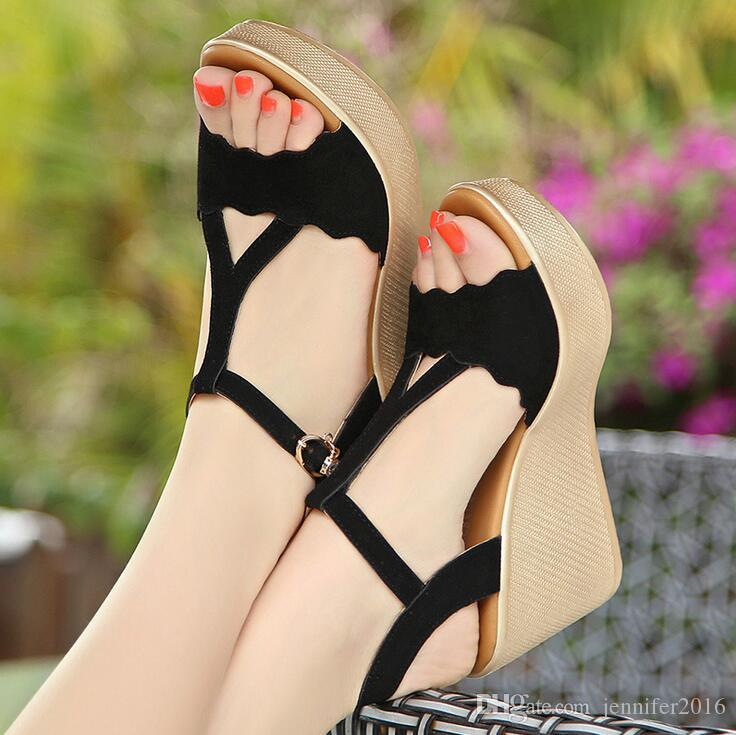 Size:34-42 Summer Shoes Women New T Strap Buckle Suede Open Toe Wedge Sandals High-heeled Shoes Platform Sandals For Ladies