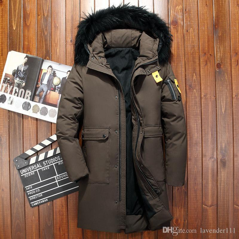 09cba664 Cálida chaqueta de pato de invierno para hombre abrigo de nieve con piel  real Outwear con capucha cuello Parkas para hombre abrigo engrosamiento