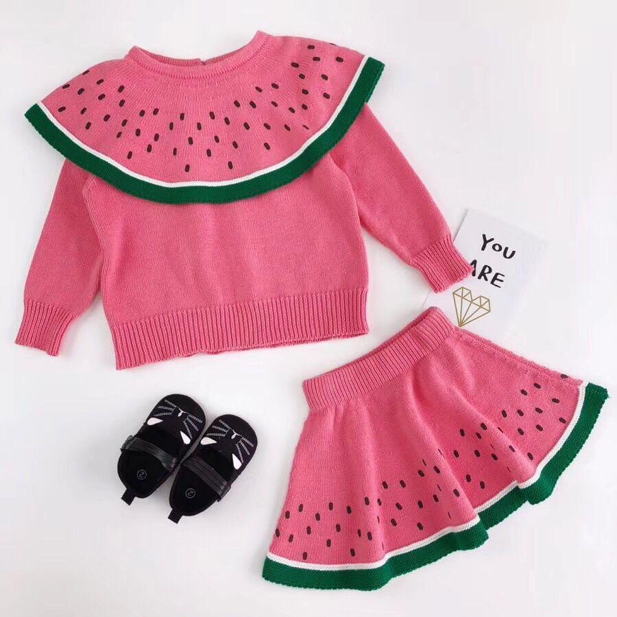c3054f7cc Tiny Cotton 2018 New Girls Sweater Watermelon Pattern Ruffle Collar ...