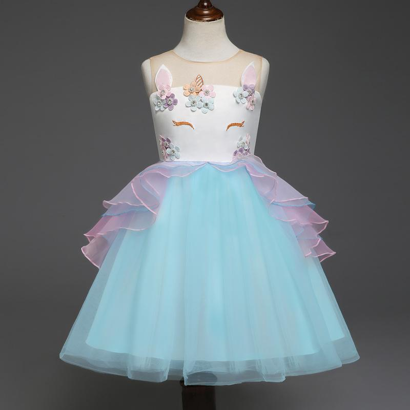 e58f6263f20f1 Unicorn Tutu Girls Dress Children Wedding Birthday Costume Girls Party Wear  Kids Events Dresses Infantil Vestidos Christmas Summer Clothing