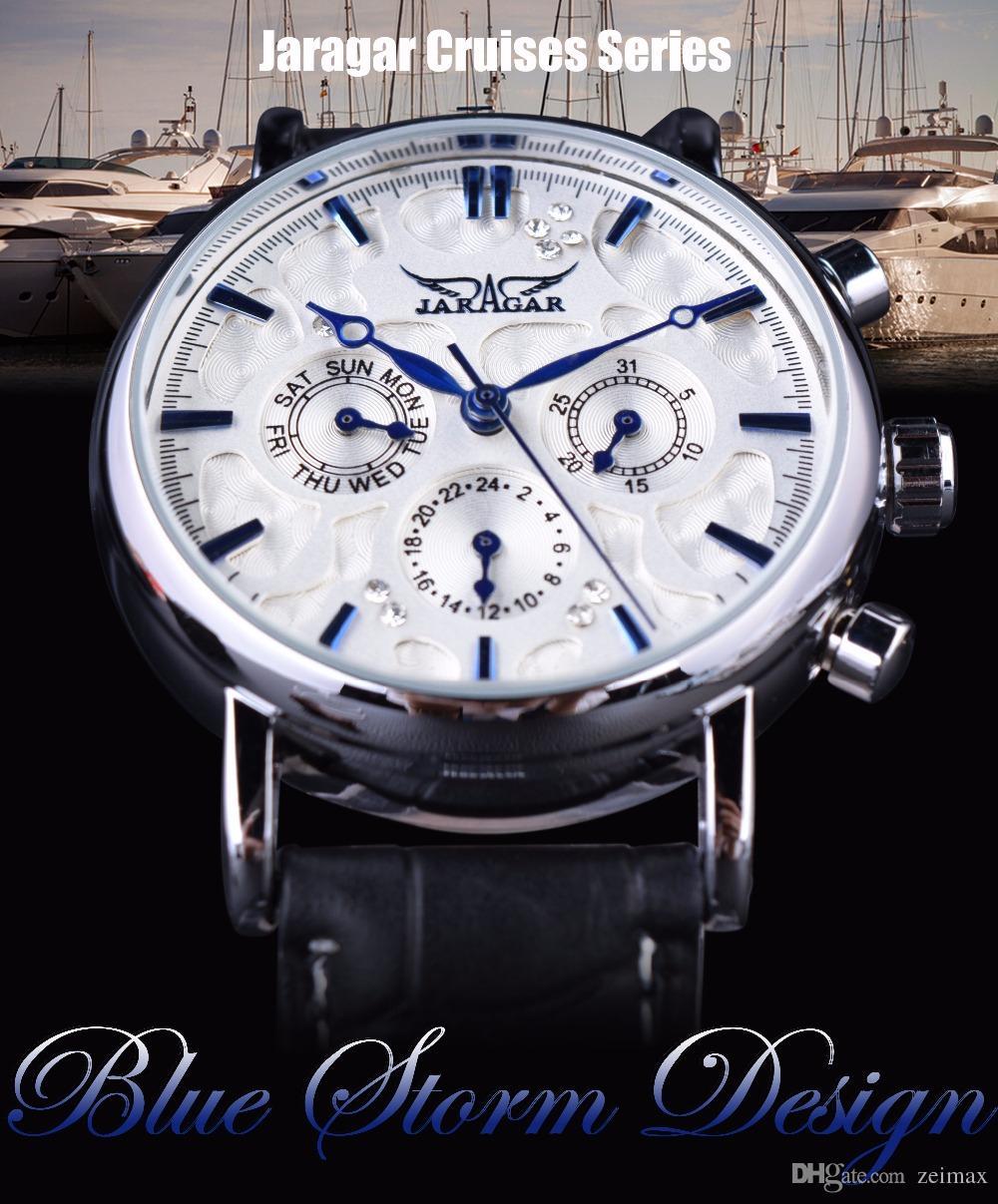 Jaragar Blue Sky Series Diseño elegante Correa de cuero genuino Reloj de pulsera para hombre Relojes de primeras marcas de lujo Reloj Hombres Automático
