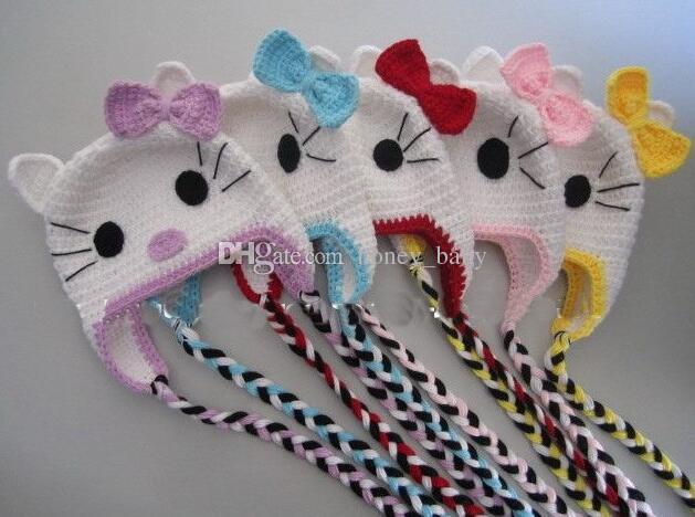 cbed28679d1 2019 Crochet Knitted Hello Kitty Hat Baby Girls Children Cartoon Animal  Beanie Infant Toddler Kids Christmas Gift Cotton Cap Newborn Photo Props  From ...
