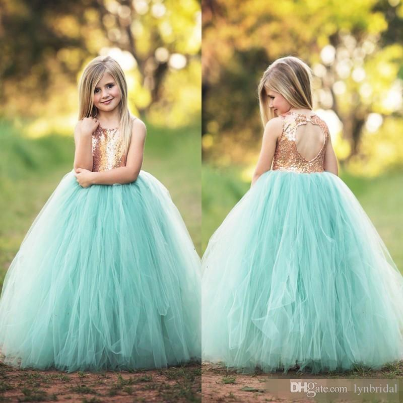Spring Cheap Flower Girls Dresses For Weddings Jewel Hollow Back ...