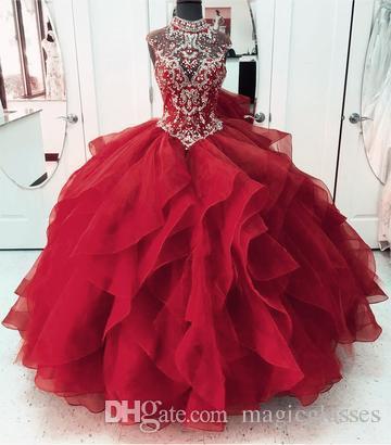 Yüksek Boyun Kristal Boncuklu Korse Korse Organze Katmanlı Quinceanera elbise Abiye Prenses Gelinlik Modelleri Dantel-up