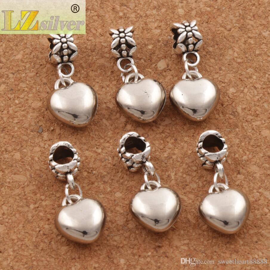 Loving Heart Alloy Großes Loch Perlen 100 teile / los Neue Antike Silber Fit Europäischen Charme Armband MIC