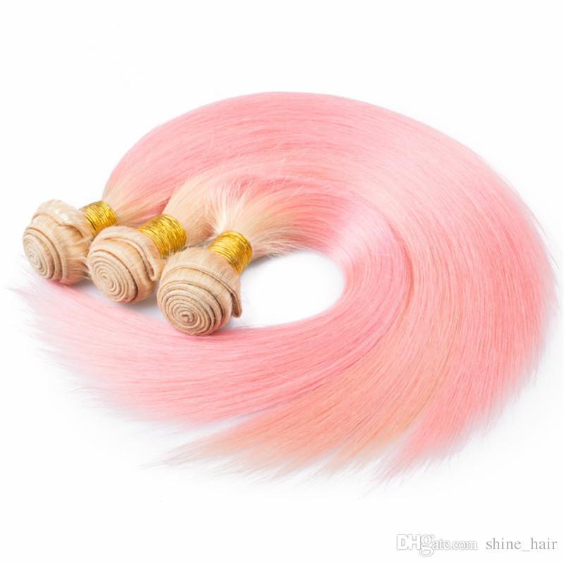 Шелковистые прямые #613 / розовый Ombre девственные перуанские пучки человеческих волос сделок 3 шт. Много блондинка и розовый Ombre человеческих волос плетет расширения