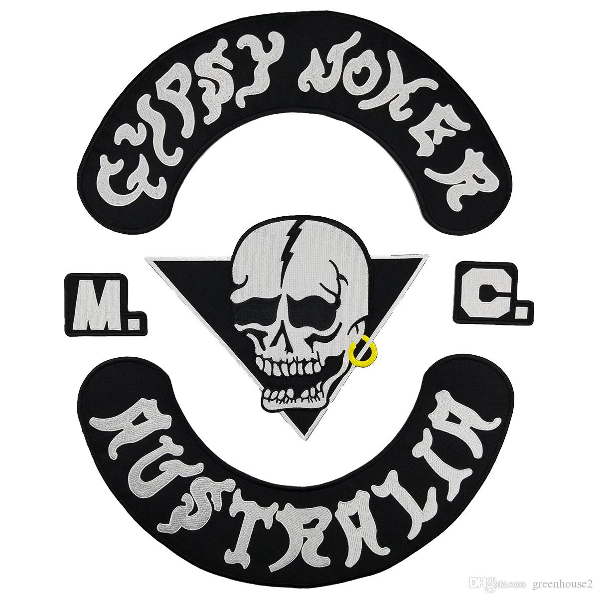GYPSY JOKER AUSTRALIA MC Club Biker Vest Embroidered Patch Full Back Large Pattern For Rocker Biker Vest Patches for clothing Free Shipping