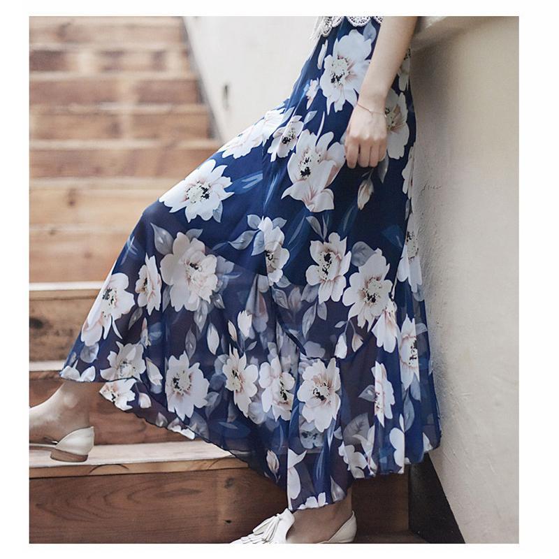 c91cd0cab 2019 2018 Summer Floral Print Women Chiffon Long Skirts Boho High Waist  Women Skirts Jupe Femme Maxi Skirt Saia Faldas From Edward03, $26.21 |  DHgate.Com
