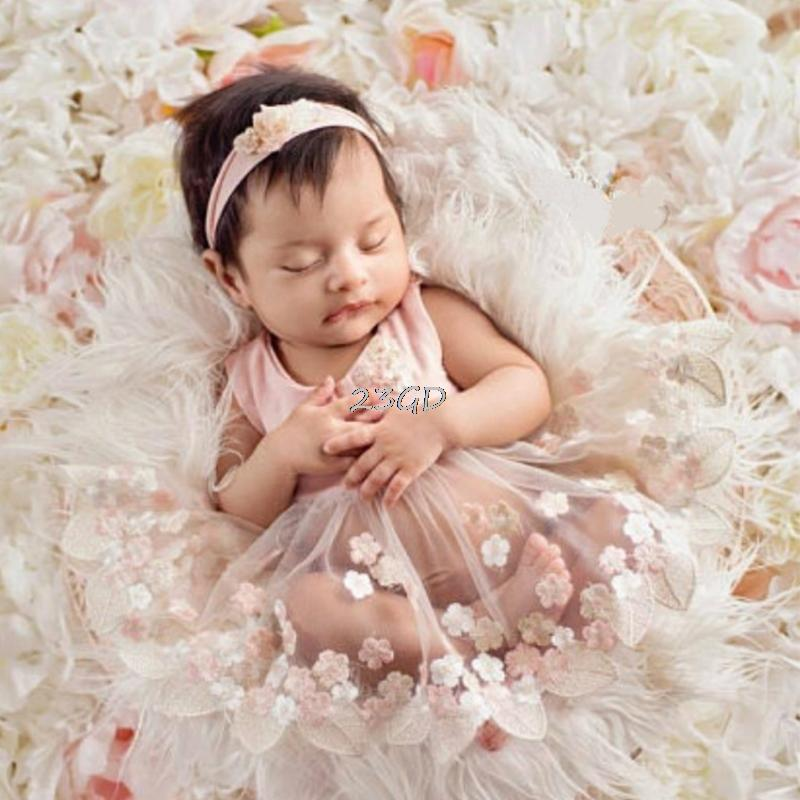 2019 2017 Cute Newborn Baby Girls Tulle Embroidery Flower