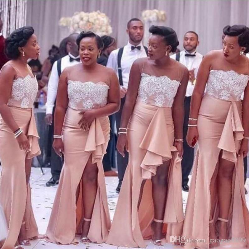 Sudafricanas Sheer cuello vestidos de dama de huésped de la boda apliques de encaje vestido del alto de Split Criada de los vestidos de las colmenas de largo la longitud del piso