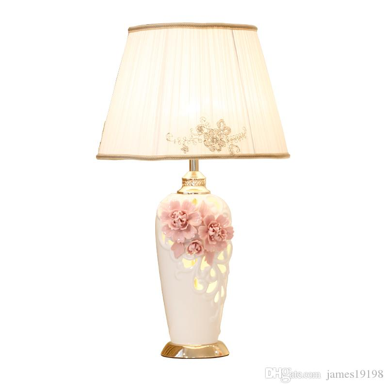 2019 China Ceramic Table Lamp Pink Flower Cloth Desk Lamp For Boy ...