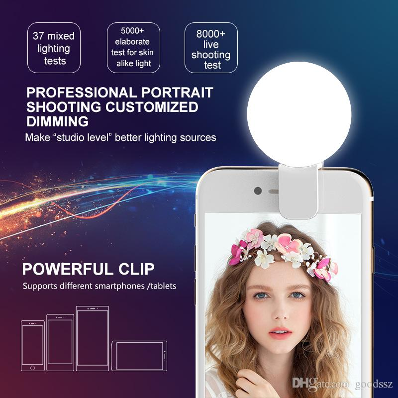 RK17 Mini Portable Beauty Selfie Ring Light LED Camera Photography Enhancing Flash Light with USB Cable Rechargeable for Cell Phones