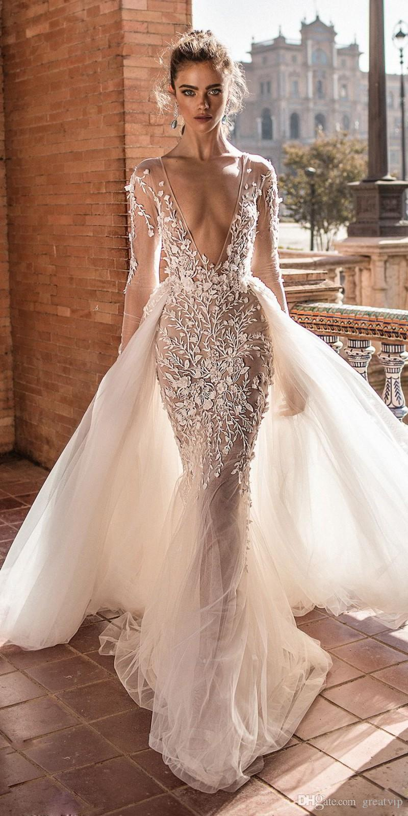 Berta Mermaid Wedding Dresses With Detachable Train Lace Applique Deep V neck Beach Wedding Gowns Sweep Train Long Sleeve Sexy Bridal