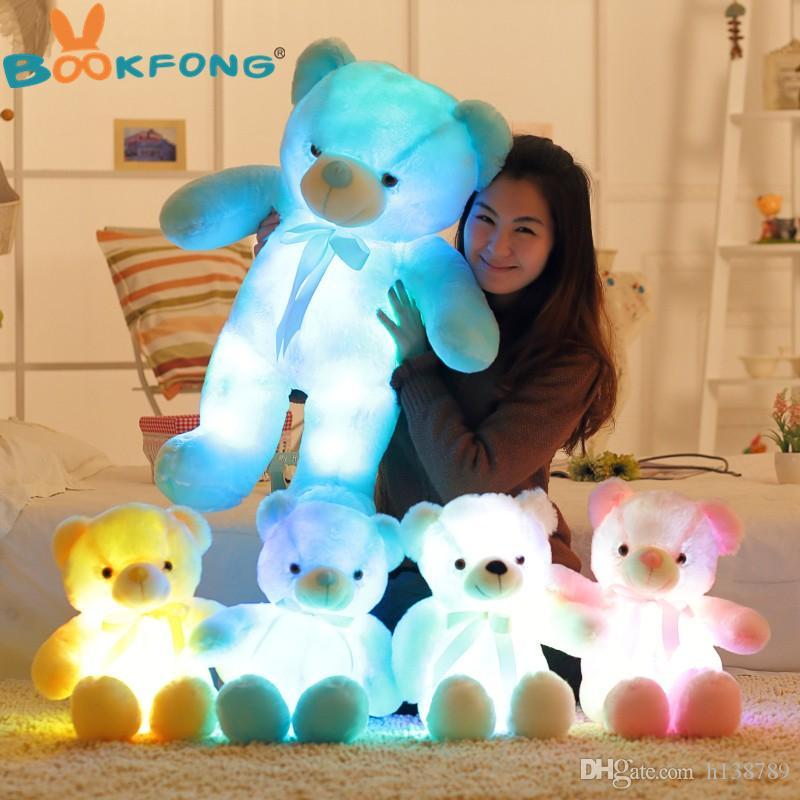 Stuffed Animals Plush Toy Creative Light Up LED Teddy Bear Toys Colorful Glowing Teddy Bear Christmas Gift for Kids 32cm/50cm