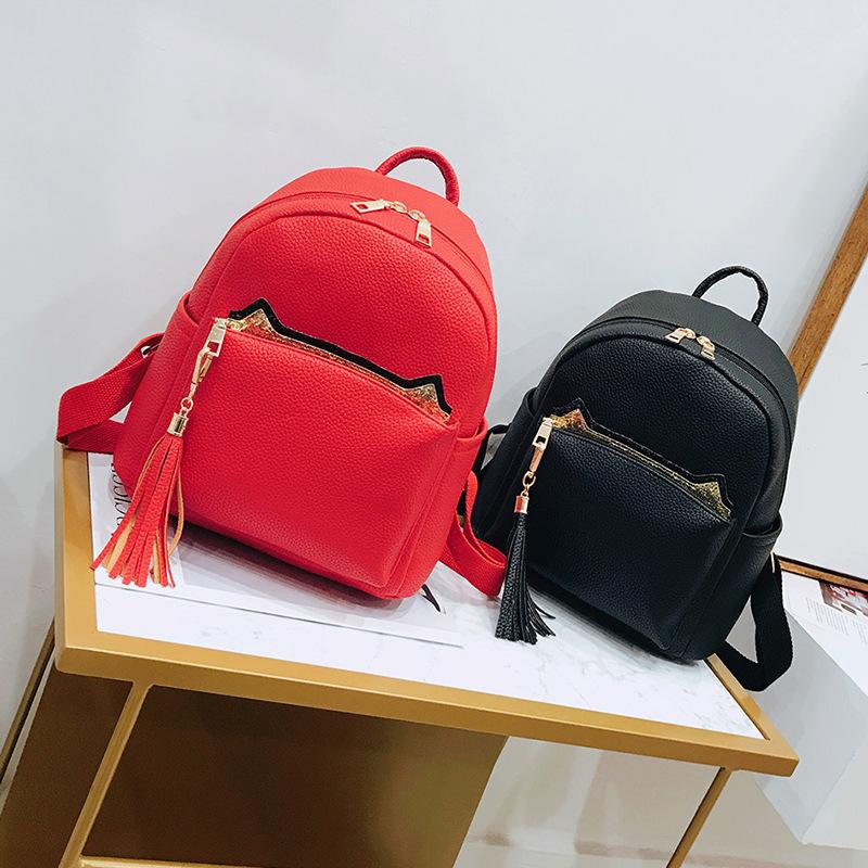 c1b2eee13ded15 Miyahouse Tassel Design Solid Color Backpack For Female Litchi Pattern  England Style Rucksack PU Leather Fashion Backpack Lady Backpack Purse Dog  Backpack ...