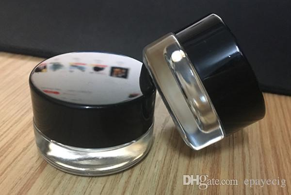 стеклянная шкатулка jar контейнер 3г 3 мл логотип прозрачный воск DAB контейнер мини-небольшие косметические банку с черной крышкой