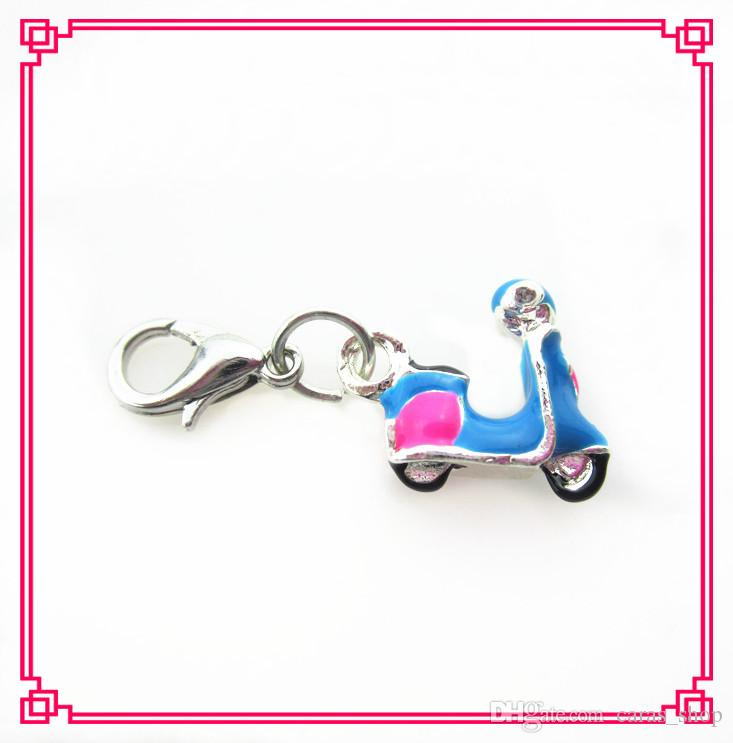 20/pcs hot sale pink motorcycle dangle charms floating charms hanging charms for DIY bracelet/necklace jewelry accessories