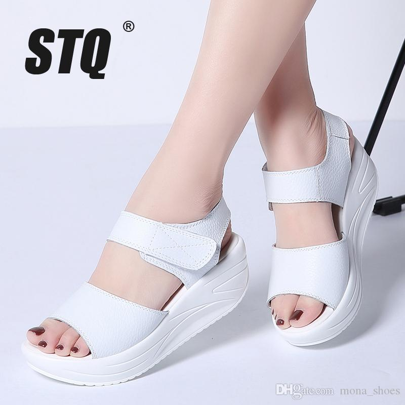 9c85fd52190f 2018 Women Sandals Summer White Wedge Sandals Open Toe Platform Sandalias Ladies  Gladiator Sandals Women 9018 Wedge Boots Comfortable Shoes From Mona shoes