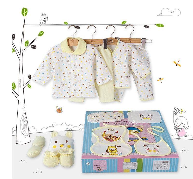 Au détail ou en gros 0-1 an hiver épaississement bébé vêtements pur coton boîte cadeau nouveau-né nouveau-né bébé sous-vêtements 18 ensembles bébé vêtements