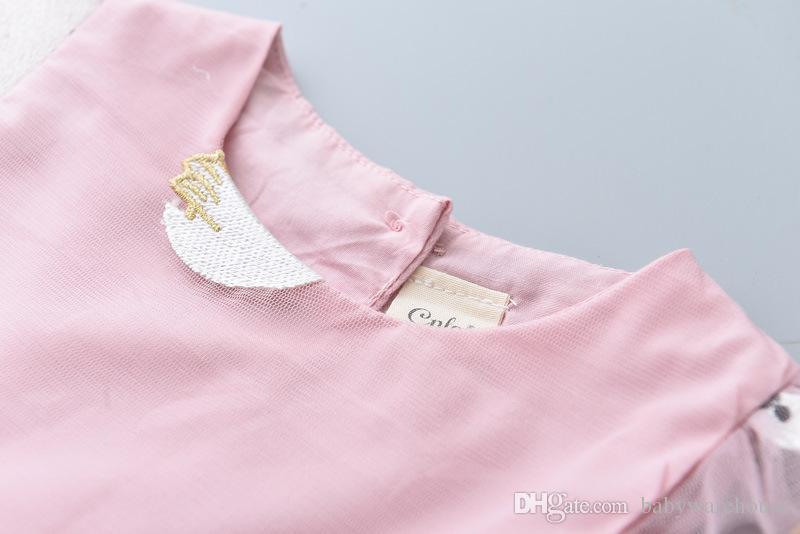 아이 드레스 2018 여름 자수 백조 디자인 베이비 드레스 공주 파티 드레스 아기 소녀 옷 귀여운 소녀 드레스 유아 소녀 옷