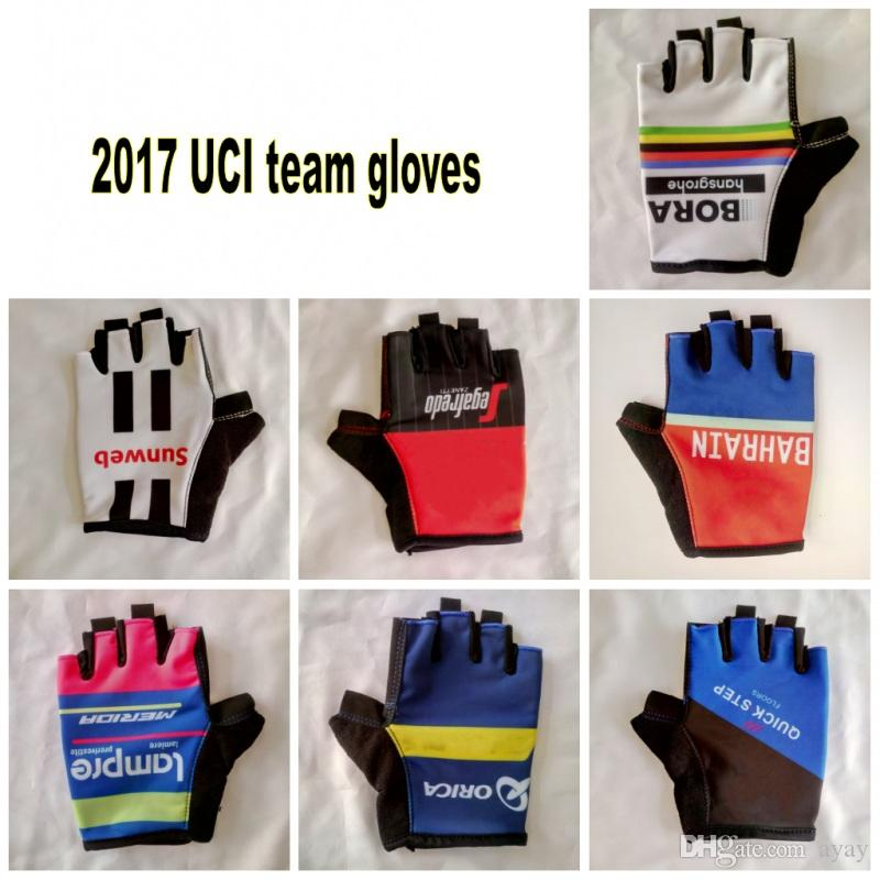 12 colors 2018 uci pro team Cycling gloves with GEL shock absorption high quality fingerless summer half finger Bike gloves