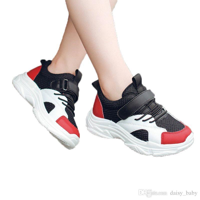 fd3b2c577c303 Child Casual Shoe Unisex Boys Girls Fashion Runing Shoes Black White PU  Mesh Kids Anti Slip Soft Bottom Sport Shoes Children School Shoe #26