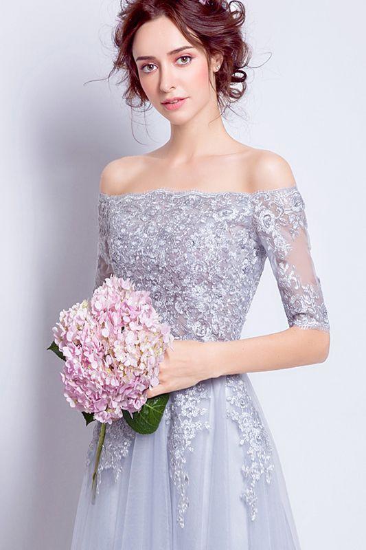 Fee Brautjungfer Kleider hellgrau weichen Tüll mit Applikationen trägerlosen Reißverschluss zurück Tee Länge Sommer Hochzeit Party Kleider billig
