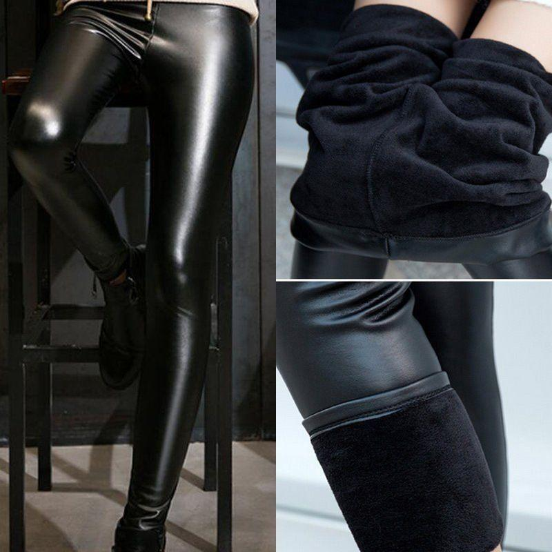 ef5eed6ea91ba 2019 Women Winter Thick Warm Leather Leggings Stretch Skinny Pants Trousers  Footless From Allproduct