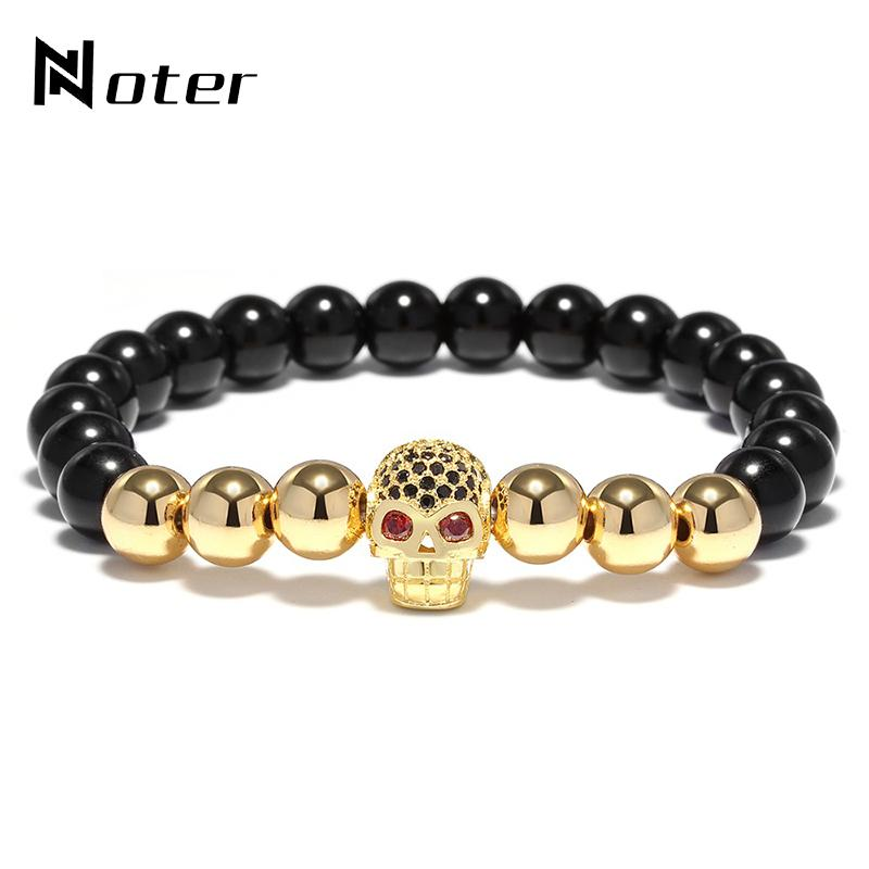Naturstein Micro Kristall Schädel Armband Gothic Elastische Perlen Für Männer Handgemachten Schmuck