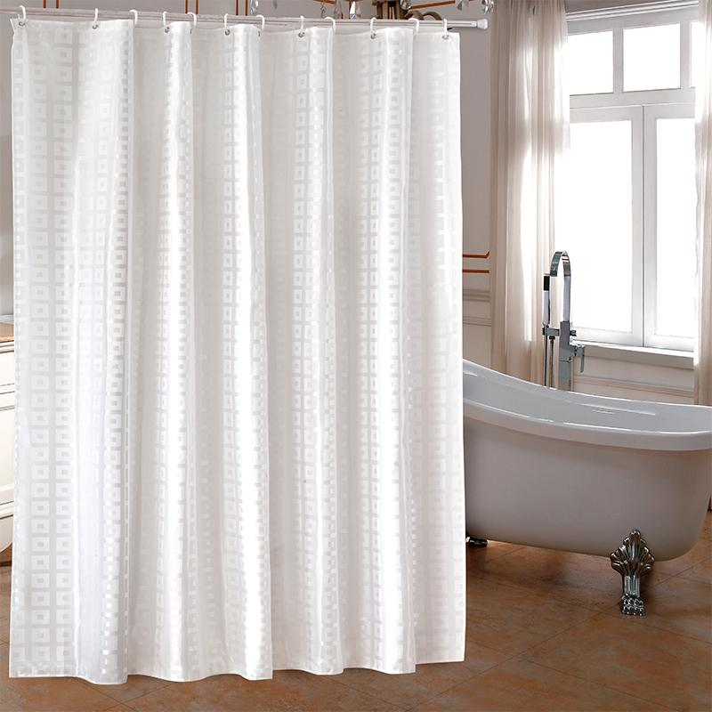 YUN YANG Simple Shower Curtain Bathroom With Hooks White Square Grid Waterproof Mildew Proof Polyester Curtains Cheap