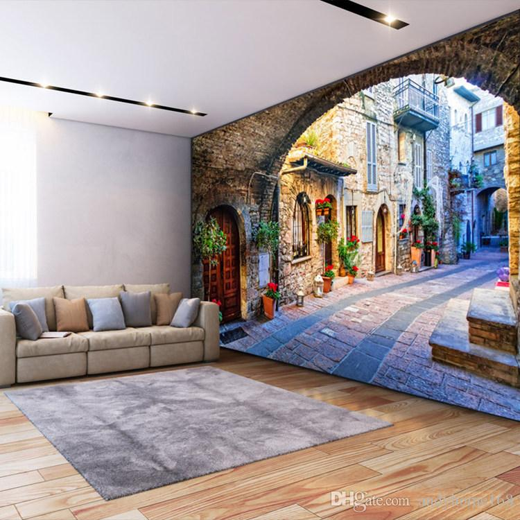 Non-woven Wallpaper Custom Photo Wall Paper Mural 3D Italian Town Street View European Landscape Wall Covering Papel De Parede