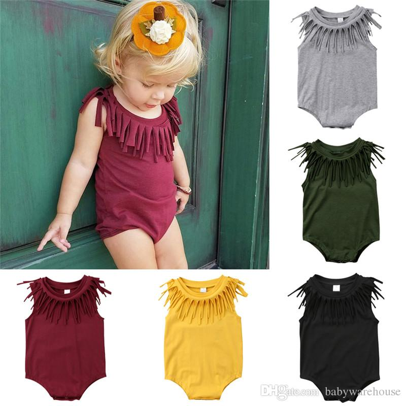 e73a355d0a5 2019 Hot Baby Rompers Girls Tassel Romper 2018 Summer Newborn Baby Girl  Black Deep Green Romper Sleeveless Fringe Jumpsuit Cotton Baby Clothing  From ...