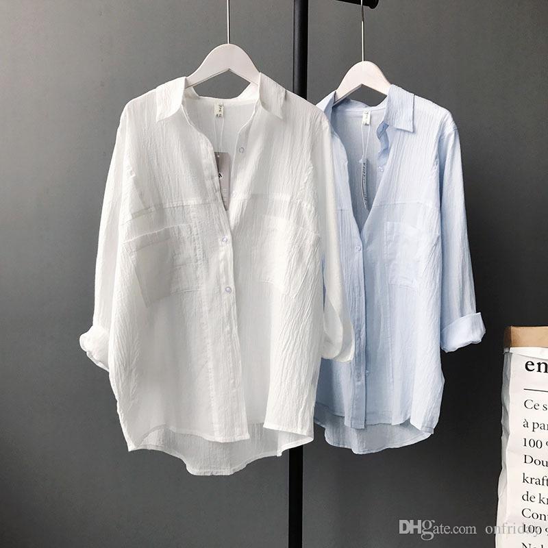 4c84d548e Compre DoreenBow Mulheres Sólido Branco E Azul Claro Cor Camisas De Algodão  De Linho Longo Batwing Manga Bolso 2018 Primavera Blusa Feminina De  Onfriday