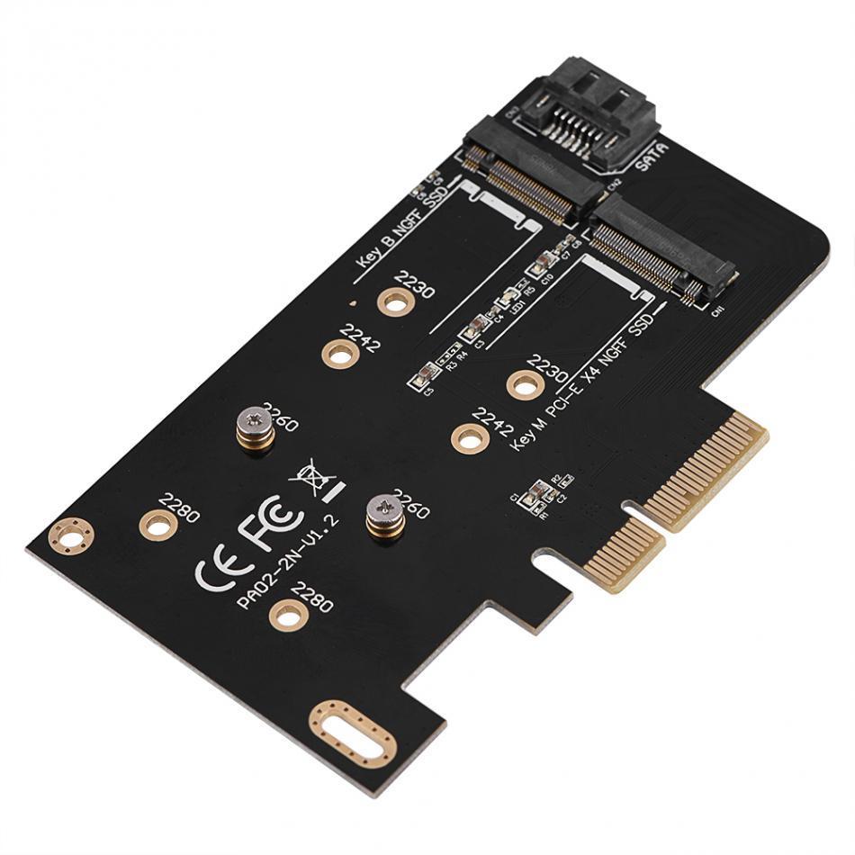 Бесплатная доставка 2 порта NGFF M. 2 B + M ключ к PCI-E 4x 3.0 адаптер SSD к PCI Express Card