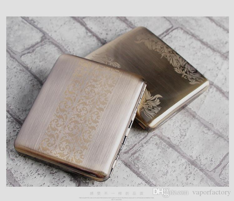 Boutique New Edelstahl Zigarettenschachtel Inhaber Ultra-Thin chinesischen Stil China Metall Tabak Zigarettenetui Tasche tragen 20 Zigaretten