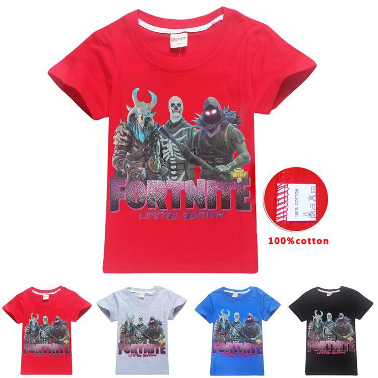 ec5dae88577e4 Acheter Enfants Fortnite T Shirt 100% Coton 4 Couleurs 6 ~ 14 Ans Fortnite  Imprimés Enfants T Shirt Été À Manches Courtes Vêtements Pour Enfants La952  De ...