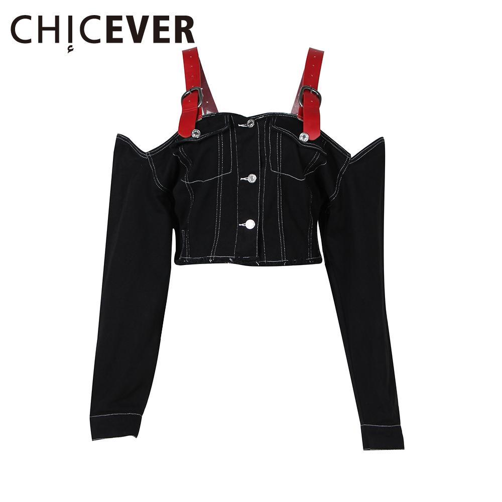CHICEVER Seksi Kapalı Omuz Jean Ceket Denim Ceketler Kadınlar için Coat Uzun Kollu Jartiyer Mahsul En Kore Büyük Büyük Boy Tortum