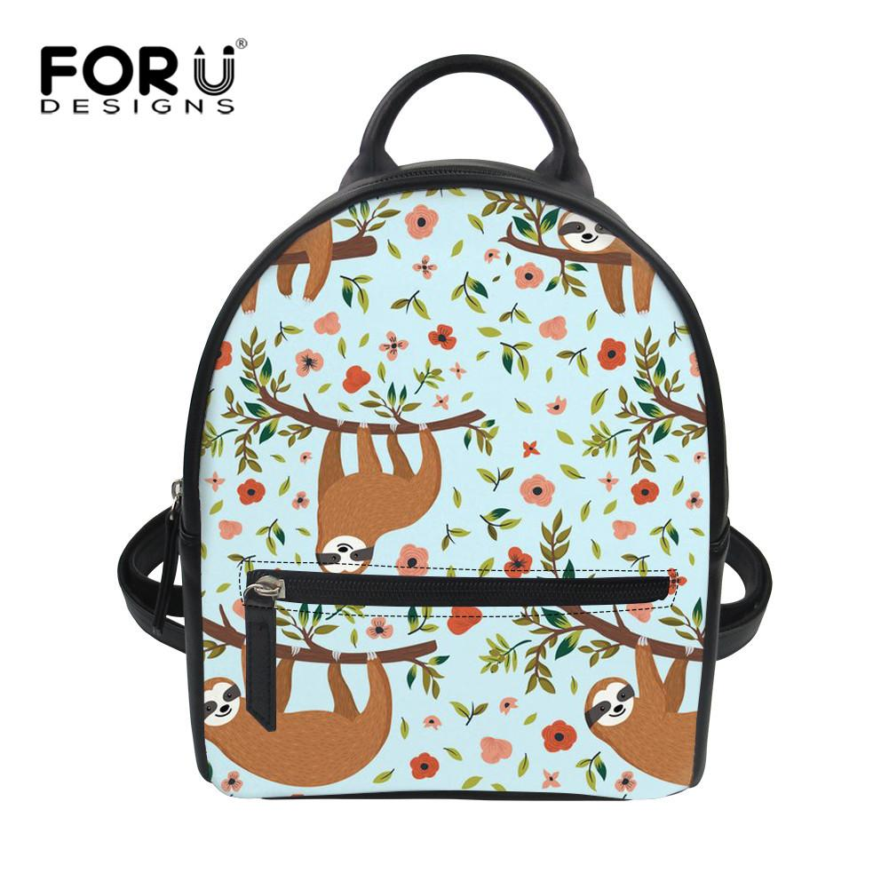 2d828864d2e6 FORUDESIGNS Lovely Sloth Cartoon Style PU Backpack Small Korean Style Women  Daily Back Pack For Travel Teen Girls Book Bags Rolling Backpack Toddler ...