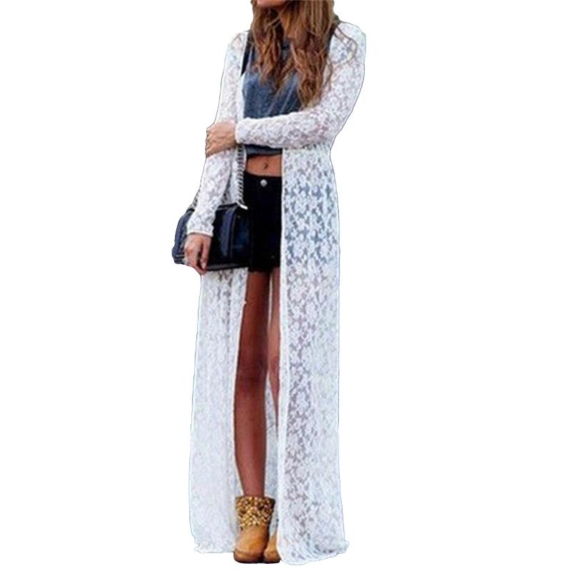 Women Floral Lace Kimono Cardigan Semi Sheer 4XL 5XL Plus Size Saida De Praia Solid Open Front Long Elegant Beach Cover Up 2019