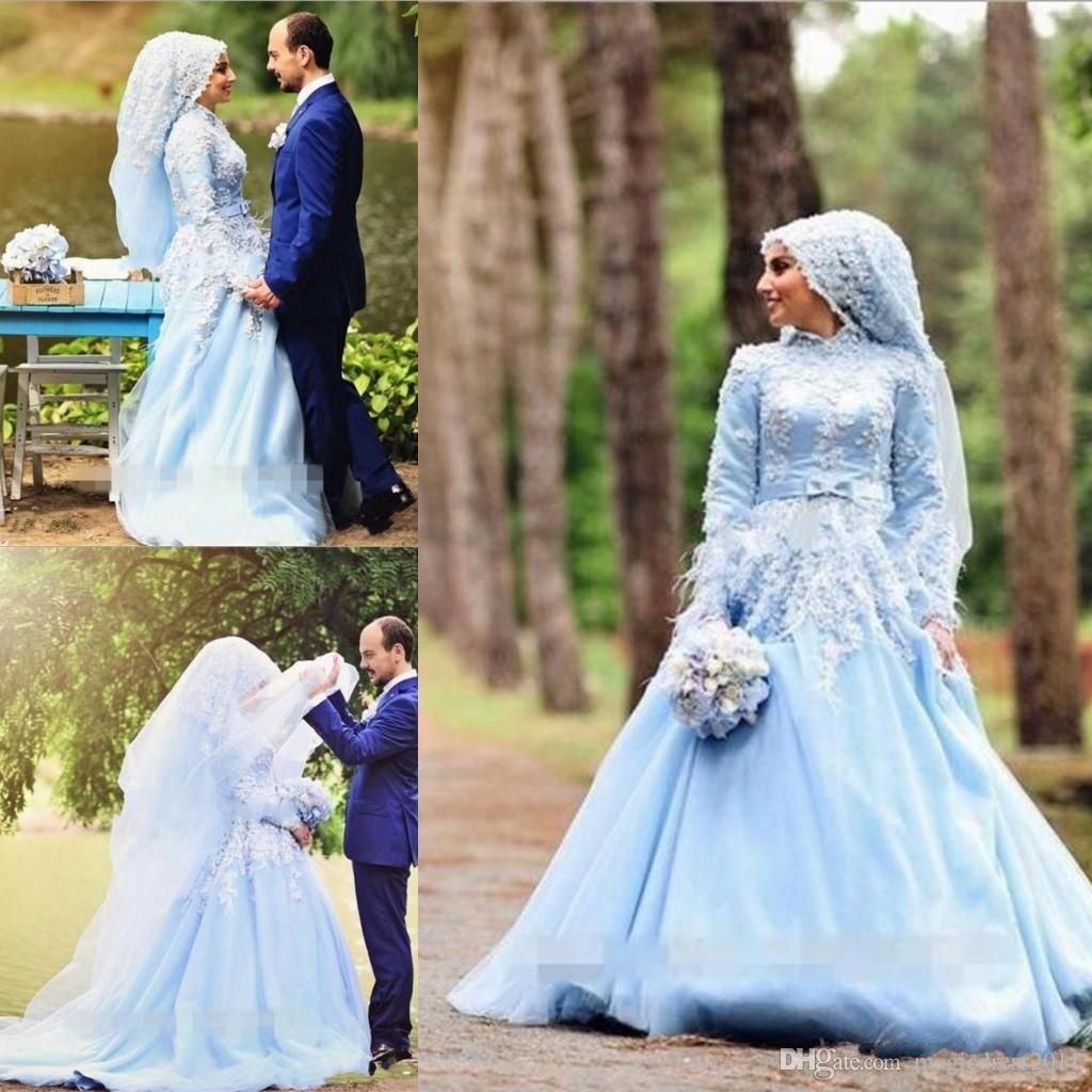 93f1a43e3b354 Discount 2018 Blue A Line Muslim Wedding Dress Long Sleeve High Neck Tulle Bride  Gown With Flower Feathers Islamic Arabic Wedding Gowns Short Bridal Dresses  ...