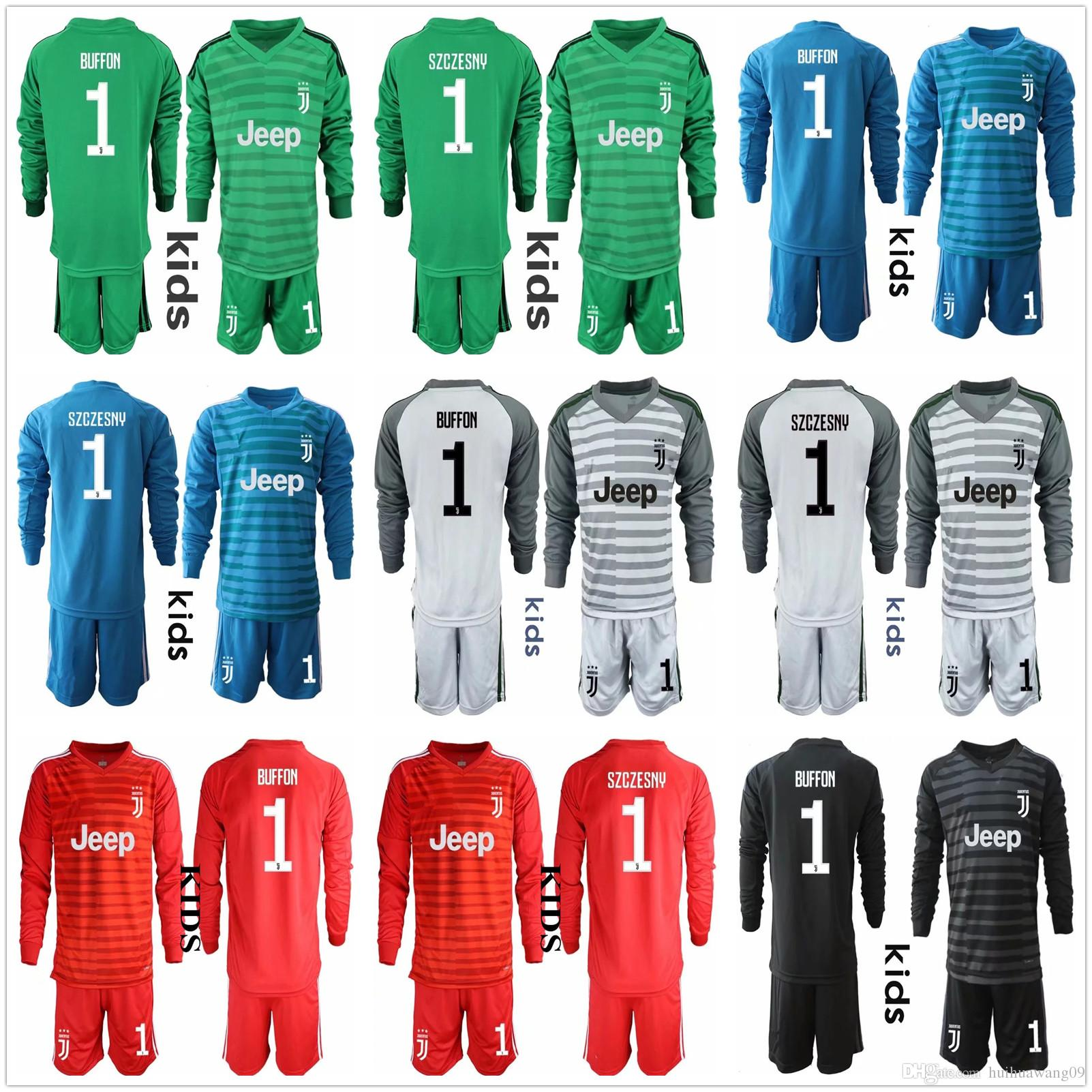 da124338917 2019 2018 2019 Juve Youth Kid Long Sleeve Goalkeeper Jerseys Kids Boys  Soccer Sets  1 Szczesny Kid Children Kits 1 Buffon Goalkeeper Uniform Sets  From ...